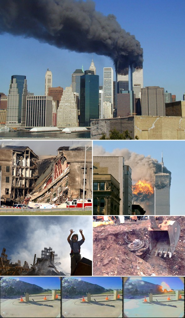 """""""September 11 Photo Montage"""" de UpstateNYer - Operă proprie; derivative work of the following:WTC smoking on 9-11.jpegby Michael Foran on FlickrDN-SD-03-11451.JPEGby the United State NavyUA Flight 175 hits WTC...by TheMachineStops on FlickrWTC-Fireman requests 1...by the US GovernmentFlight93Engine.jpgby the US GovernmentVideo2 flight77 pentag...by the United States Department of Defense. Sub licență CC BY-SA 3.0 via Wikimedia Commons."""